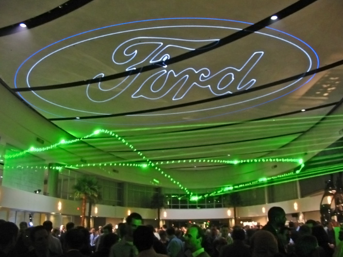 Lasers dazzled guests during the launch of the new Ford Fusion in Detroit, MI.