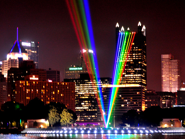 Spectral Ascending is a large scale laser beam presentation visible for miles.